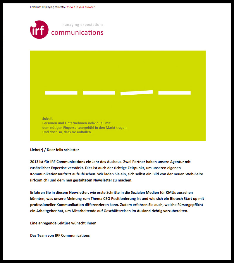 IRF Communications Managing Expectations